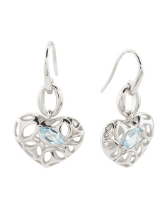 Made In Italy Sterling Silver Blue Topaz Ricamo Earrings