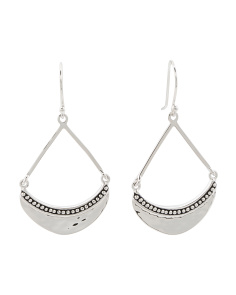 Made In Mexico Sterling Silver Hammered Crescent Earrings