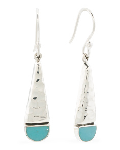 Made In Mexico Sterling Silver Turquoise Linear Earrings
