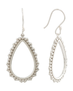 Made In Mexico Sterling Silver Beaded Open Teardrop Earrings