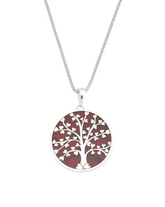 Made In Mexico Sterling Silver Jasper Tree Of Life Necklace