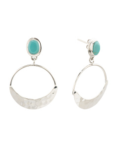 Made In Mexico Sterling Silver Turquoise Hammered Earrings