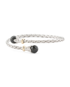 Made In Italy 14k Gold And Sterling Silver Onyx Bracelet