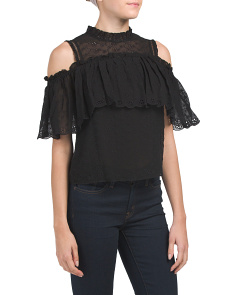 Cold Shoulder Silk Eyelet Top