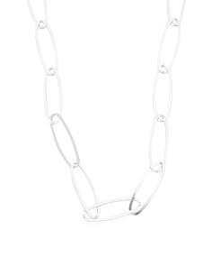 Made In Italy Sterling Silver Elongated Link Necklace