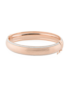 Made In Italy 14k Rose Gold Plated Silver Ribbed Glitter Bracelet