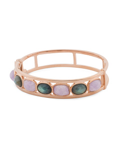 Made In Italy 14k Rose Gold Plated Sterling Silver Gemstone Bracelet