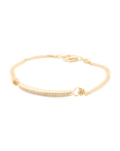 Made In Italy 18k Gold Plated Sterling Silver Gemstone Id Bracelet