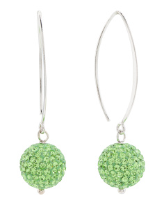 Made In Italy Sterling Silver Green Crystal Ball Earrings
