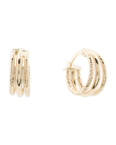 Made In Italy 14k Gold Textured Huggie Earrings