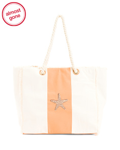 Large Starfish Canvas Beach Tote