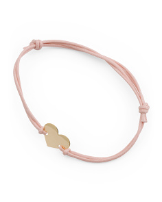 Made In Italy 14k Gold Heart Corded Pink Bracelet