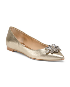Embellished Leather Evening Flats