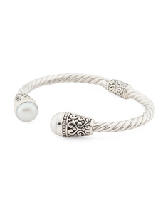 Made In Bali Sterling Silver Pearl Twisted Hinged Bracelet