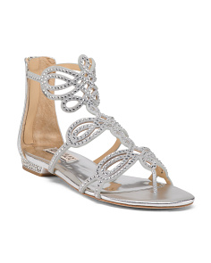 Embellished Leather Evening Sandals