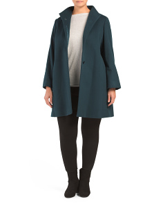 Plus Wool Blend Long Coat With Wing Collar