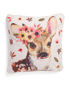 20x20 Faux Linen Watercolor Deer Pillow