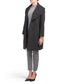 Petite Wool Blend  Shawl Collar Coat