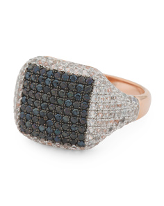 Made In Italy 14k Rose Gold Plated Bronze Pave Cz Band Ring