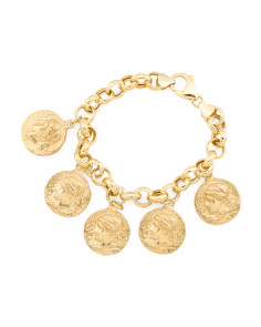 Made In Italy Coin Charm Rolo Bracelet