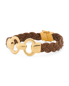 Made In Italy Status Link Braided Leather Bracelet