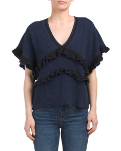Ruffle V-neck Cashmere Sweater