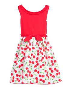 Little Girls Cherry Knit Dress