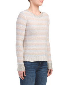 Metallic Trim Cashmere Sweater