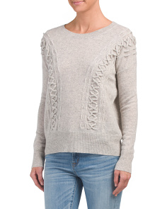 Cashmere Cross Laced Sweater