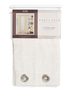 38x96 Set Of 2 Linen Blend Extra Long Curtains