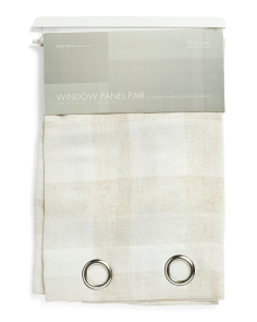 Set Of 2 Rustic Linen Look Curtains