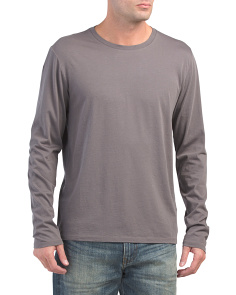 Long Sleeve Crew Neck Pima Cotton Top