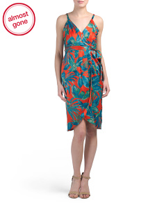 Petite Tropical Floral Midi Wrap Dress