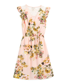 Big Girls Botanical Floral Faux Wrap Dress