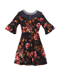 Big Girls Floral Velvet Dress With Jewels