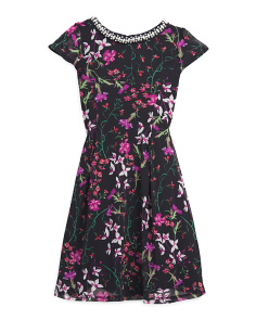 Big Girls Floral Dress With Jewel Embellished Neck