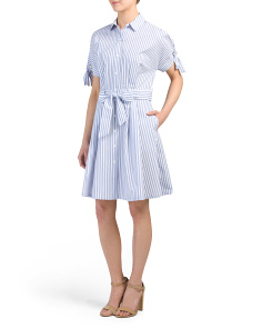 Striped Button Down Poplin Dress