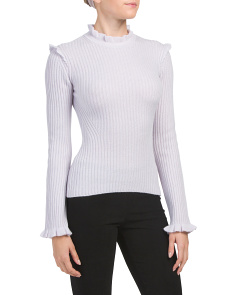 Fitted Ruffle Cashmere Sweater