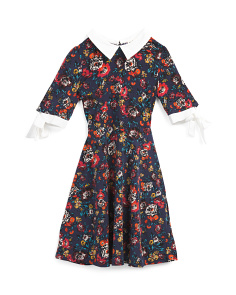 Big Girls Floral Collared Dress