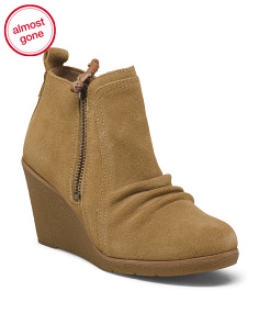 Suede Comfort Wedge Ankle Booties
