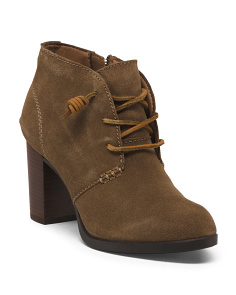 Leather Stacked Heel Ankle Booties
