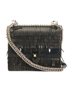 Made In Italy Leather Bag With Fringe