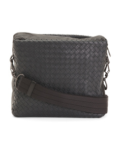 Made In Italy Leather Woven Messenger Bag