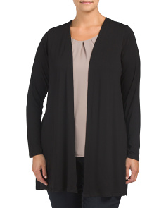 Plus Mix Media Pleat Cardigan