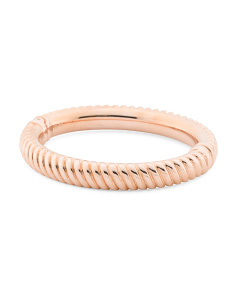 Made In Italy 14k Rose Gold Ribbed Hinged Bracelet