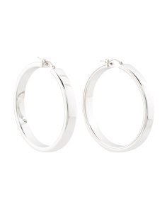 Made In Italy 14k White Gold Squared Hoop Earrings