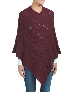 Made In Italy Perforated Poncho With Weave Stitch