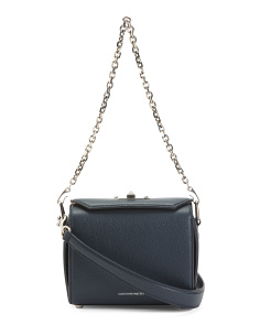 Made In Italy Leather Box Crossbody With Chain Strap