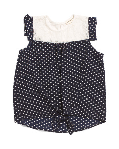 Little Girls Tie Front Polka Dot Top