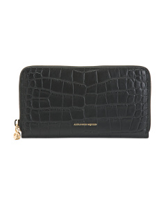 Made In Italy Continental Croc Embossed Leather Wallet